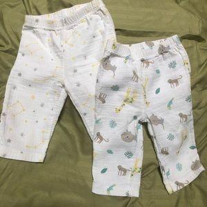 Two Pair Unisex Soft Cotton Muslin Pants